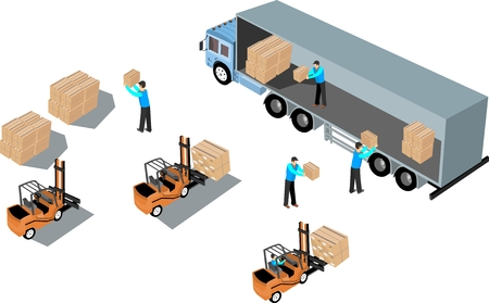 3D isometric process of loading of mail cargoes. Isometric truck, logistic and factory, forklifts, mail employees exterior, and storage cargo illustration