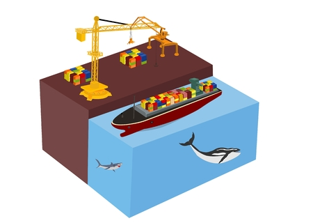 Port crane and bulk carrier isometric concept  vector illustration. Shipping theme.