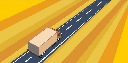 Truck driving along the highway, yellow field, view from above, isometric vector illustration, flat vector.