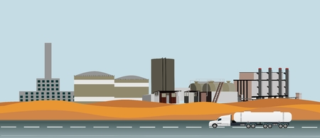 Industrial horizontal vector landscape, web page design, oil refinery station in desert, highway with oil tanker truck.