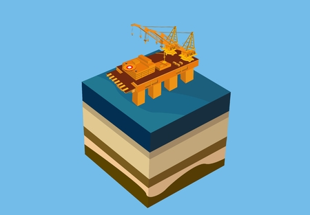 Oil platform on sea, vector 3d isometric concept illustration, cube, cut in piece.