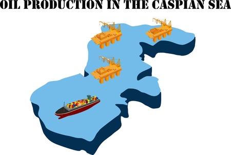 Oil production in the Caspian sea, 3d isometric concept vector illustration, oil platforms in the sea. Vettoriali
