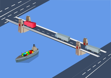Automobile bridge over river with driving trucks, city modern buildings, concept isometric urban layout vector illustration