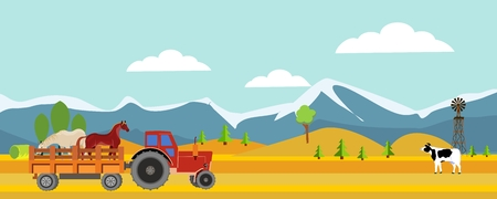 Countryside vector horizontal panoramic illustration, tractor with horses, mountains and hills in a background Illustration