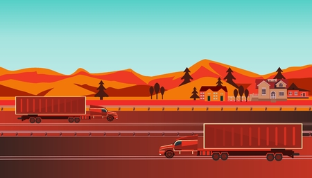 Countryside landscape with road, trucks and suburbs with private houses on a background of mountains and hills. Street, highway with trucks. Concept suburban life.