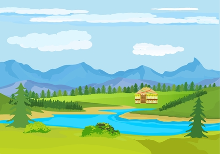 Kazakhstan countryside, farm, village, flowers, green hills and mountains, blue lake, clouds, Cartoon style, vector illustration