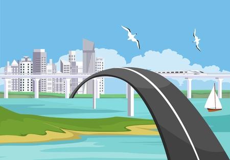 Bridge over the river and automobils driving along, city skyscrapers in the coast landscape horizon, concept