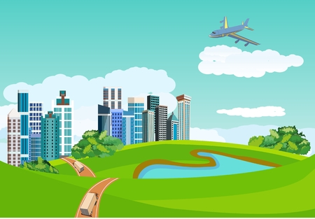 Countryside landscape concept. City buildings in green hills, blue lake, road ribbon, plane in the sky, vector illustration. Çizim