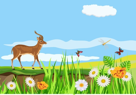 Vector illustration of spring green meadow and hills, flowers, grass and butterflies in pretty landscape, antelope standing