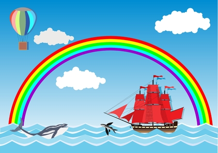 Sailing ship swimming in sea waves, rainbow and fishes in background, flat cartoon cute vector illustration Illustration