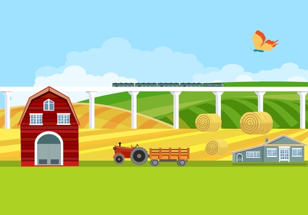 Tractor transporting harvest in the field in the countryside, village among green hills, flat vector illustration summer landscape view, agriculture theme