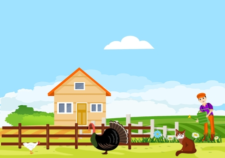Countryside scene, farmland, farmer in house, livestock birds green fields, meadows, village scene, summer time vector landscape