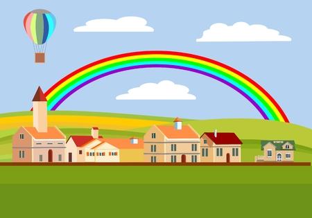 Countryside landscape view, rainbow, vector concept, vilage
