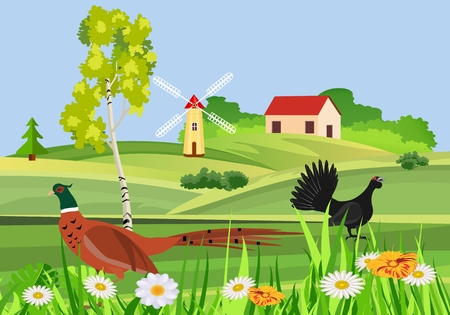 Beutifull countryside view, vector concept, little village on hills Ilustracja