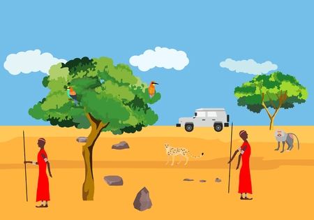 African wild nature and masai mara people vector concept illustration, wild animals in savannah, african landscape vector