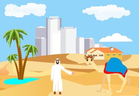 Desert vector landscape, arabian man cityscape, camel, urban buildings, yellow sand barhans mountains, concept illustration