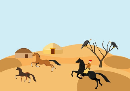 Desert vector landscape, nomads village and horses, yellow sand barhans concept illustration Illustration