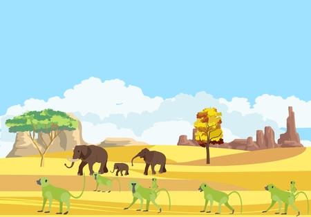 African savannah wildlife vector scene, elephant and baboon family. Illustration