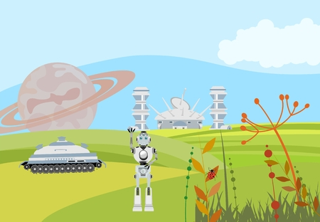 Fantastic future planet, concept vector illustration, fantastic future theme Çizim