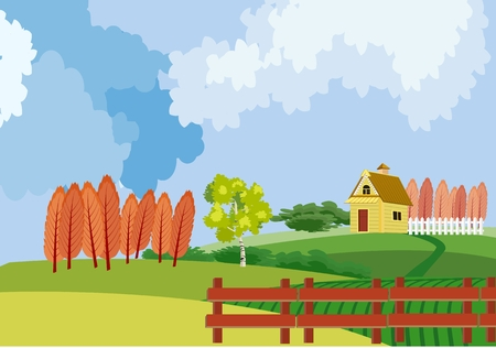 Countryside vector landscape, clouds, hence, trees, home, harvest, houses, concept vector