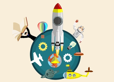 Space theme vector illustration cartoon cute astronaut characters. Rocket, characters, space yellow submarine.