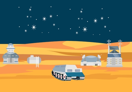 Space theme vector concept illustration, cosmic station on the moon, stars, comets, flat vector
