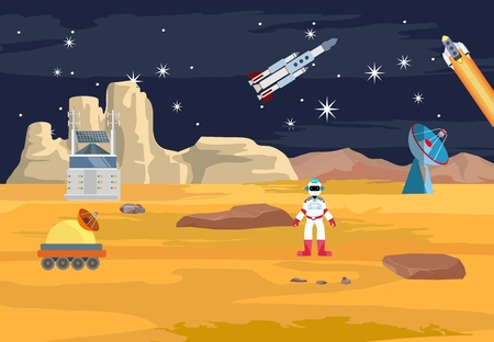 Space theme vector concept illustration, robots and astronauts, on allien planet, cosmic station, stars, comets, flat vector Ilustração
