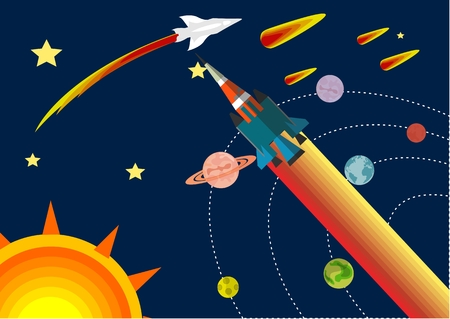 Space theme vector concept illustration, rockets flying in the universe, planets and stars, comets, flat vector Illustration