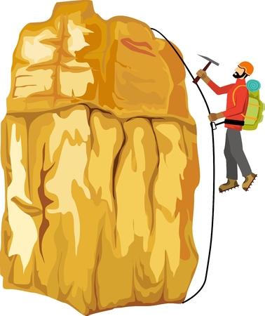 Climber climbing on the rock, vector