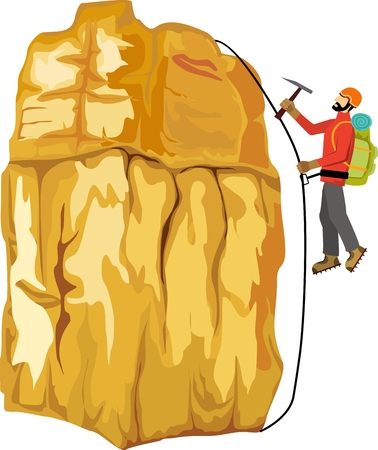 Climber climbing on the rock, vector