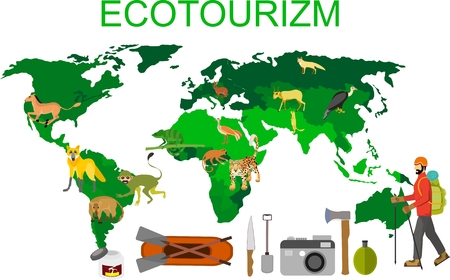 World map with elements of ecotourism, green tourism, concept vector illustration