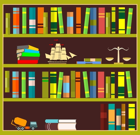 Bookshelf with books, isolated on white vector