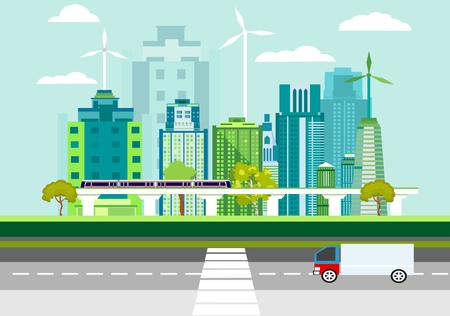 Eco friendly city modern flat design style vector on blue background. Urban cityscape with skyscrapers, solar panels, train. Ecology concept illustration Vettoriali