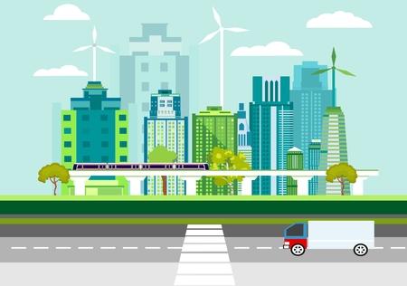 Moderne flache Designartvektor der umweltfreundlichen Stadt auf blauem Hintergrund. Städtisches Stadtbild mit Wolkenkratzern, Sonnenkollektoren, Zug. Ökologiekonzeptillustration