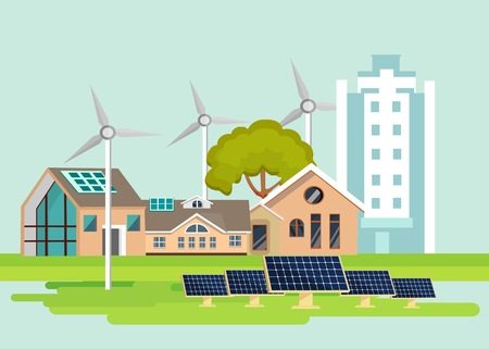 Eco-friendly houses flat design style vector illustration cityscape with, windmills, solar panels, on green fields