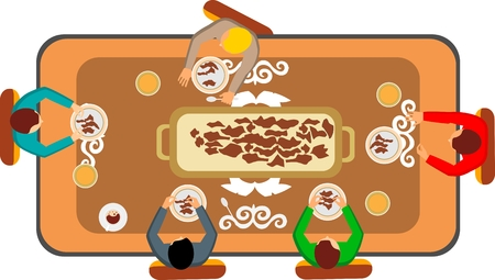 Kazakh national meals on the table and people eating vector illustration