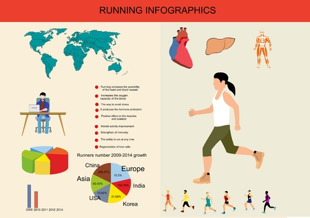 Infographic about running, vector concept illustration