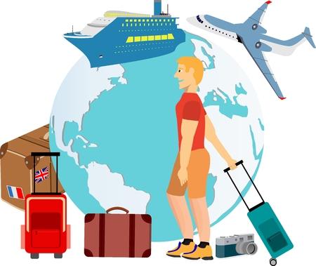 Vector concept composition about travel illustration travel elements Ilustração