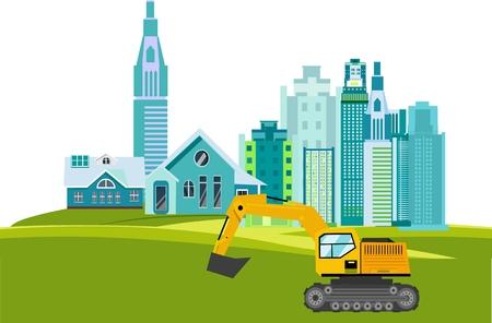 Construction field theme, buildings constructions, working excavators, plant Illustration