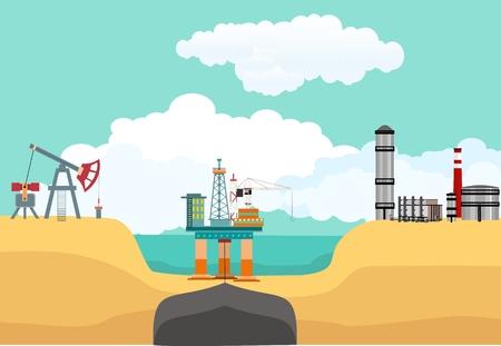 Sea oil drilling offshore platphorm, oil produsing plants on the coast, vector industrial landscape Ilustração