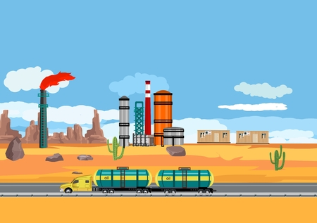 Fuel tanker truck driving in the desert, oil plant, oil industry theme, vector concept industrial illustration