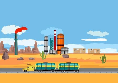 Kraftstofftankwagen fahren in der Wüste, Ölfabrik, Ölindustriethema, Vektorkonzept industrielle Illustration