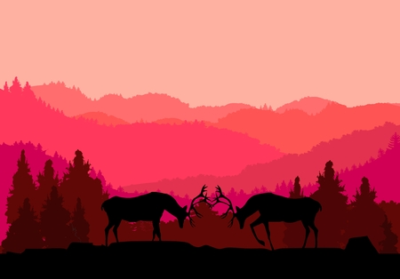 Deers strugling silouettes, forest nature silhouette in background, hills covered with forest