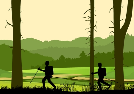 Tourists walking silouettes, forest nature silhouette in background, hills covered with forest