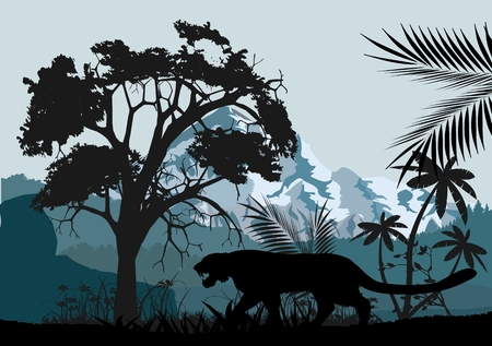Jungle trees, grass, plants and leopard's silhouette, wildlife landscape, vector illustration