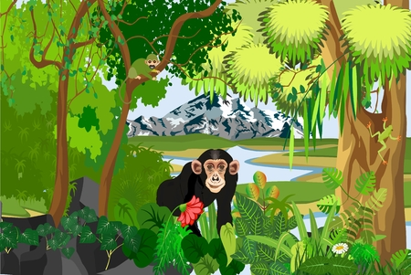 Monkey standing among the plants, jungle, trees, wildlife and nature theme illustration