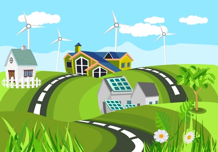 Ecologically clean houses in green hills clean green invironment, countryside, vector illustration Stock Illustratie