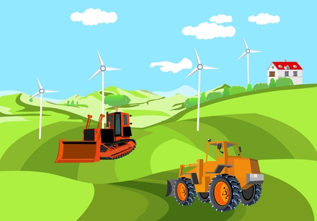 Bulldozer and loader on green hills meadow houses and sands, countryside, vector illustration