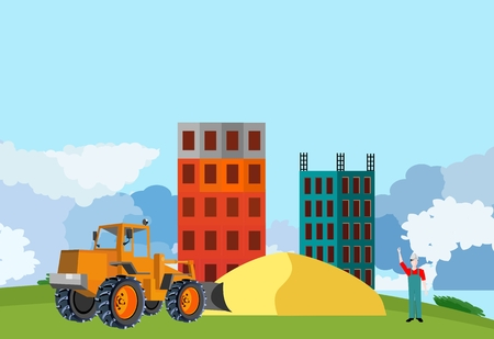 Bulldozer tractor on construct yard houses and sands, countryside, vector illustration