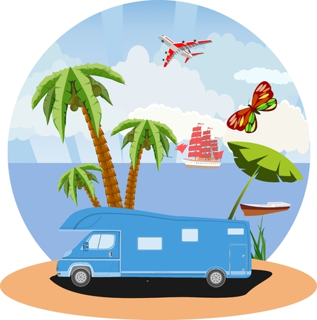 Travel vacation theme, beach and ocean coast concept vector illustration